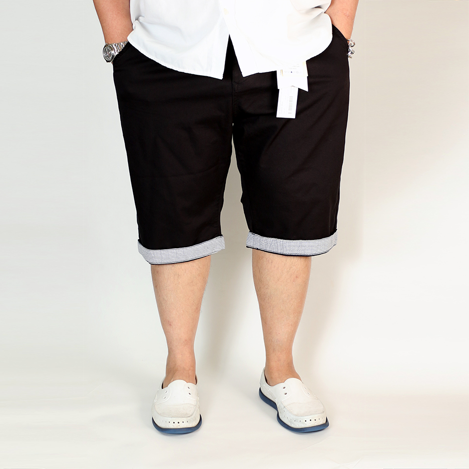 Striped Tailored Fit Shorts - Black