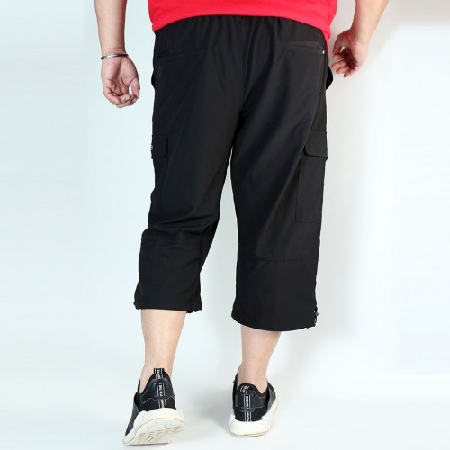 Stretch Cropped Cargo Shorts - Black