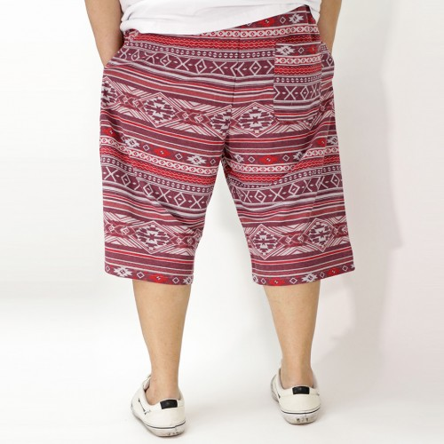 Ortega Pattern Casual Shorts - Red