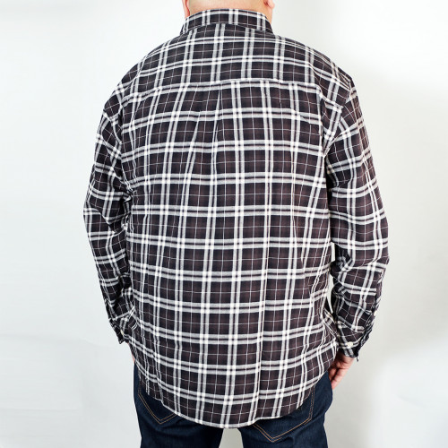 Long Sleeve Plaid Button Down - Black/White