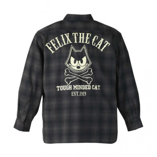 Ombre Check Long Sleeve Shirt - Black