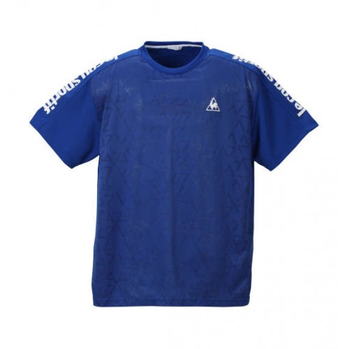 Jacquard Knit Dry Pin Mesh Short Sleeve Polo Shirt - Blue