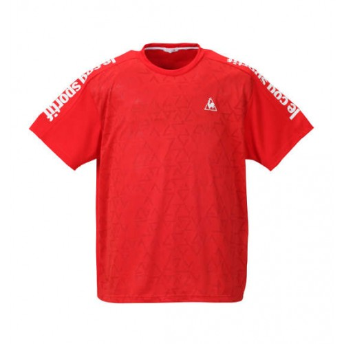 Jacquard Knit Dry Pin Mesh Short Sleeve Polo Shirt - Red