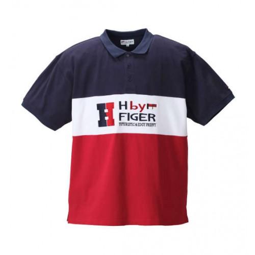Switching Kanoko Short Sleeve Polo Shirt - Navy/Red
