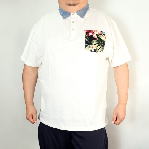 Flower Pocket Polo - White