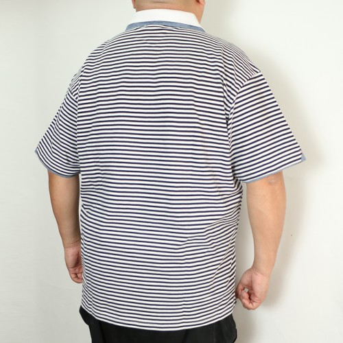 鹿の子 Polo - Black/White Stripe