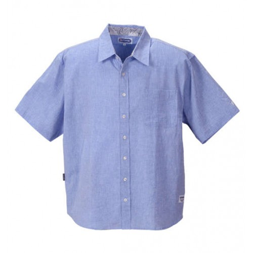 Cotton Linen Short Sleeve Shirt - Blue