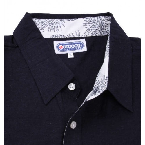 Cotton Linen Short Sleeve Shirt - Navy