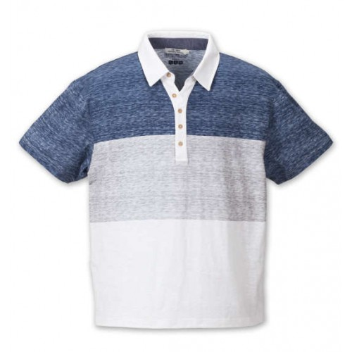 Slab Individual Three-Stage Switching Polo Shirt - Blue