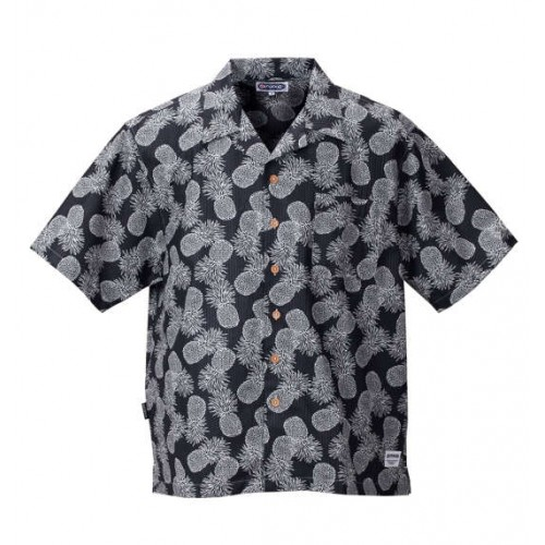 Pineapple Pattern Ripple Shirt - Black