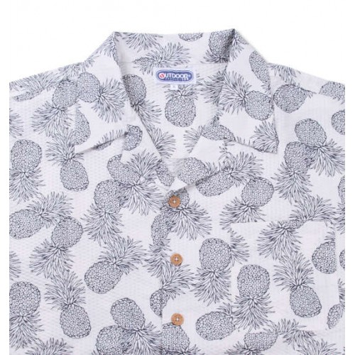 Pineapple Pattern Ripple Shirt - White
