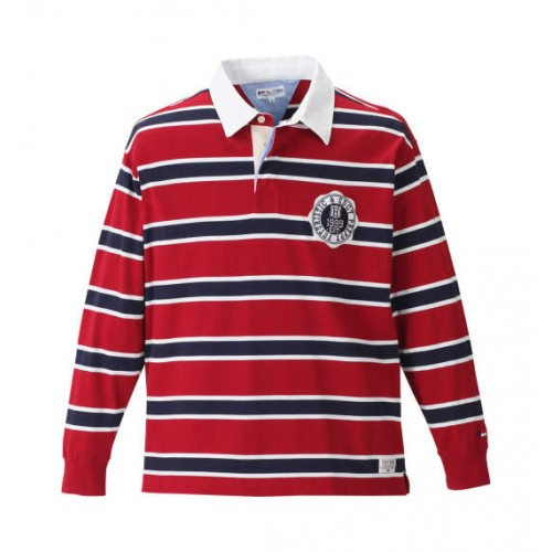Long Sleeve Simple Border Polo Shirt - Red