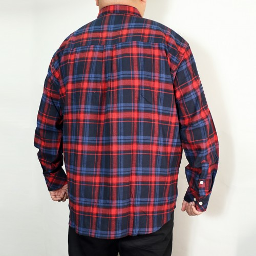Basic Casual Check Shirt - Red/Navy