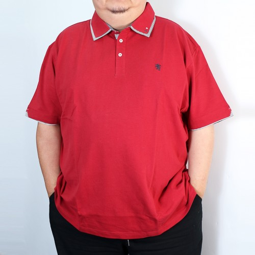 鹿の子 Layered Collar Polo Shirt - Red