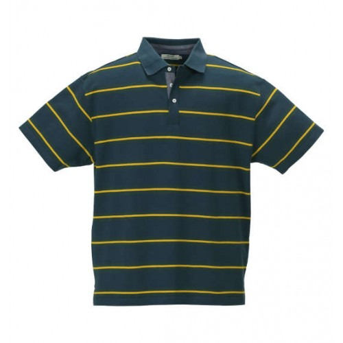 鹿の子 Border Pattern Polo Shirt - Navy Green