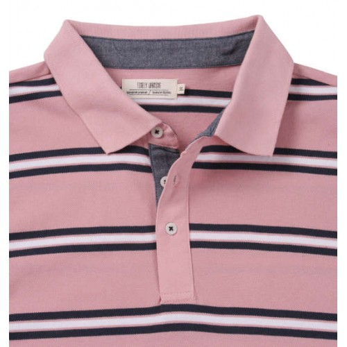 鹿の子 Border Pattern Polo Shirt - Pink