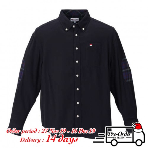 Check Pattern Elbow Patch L/S Shirt - Black