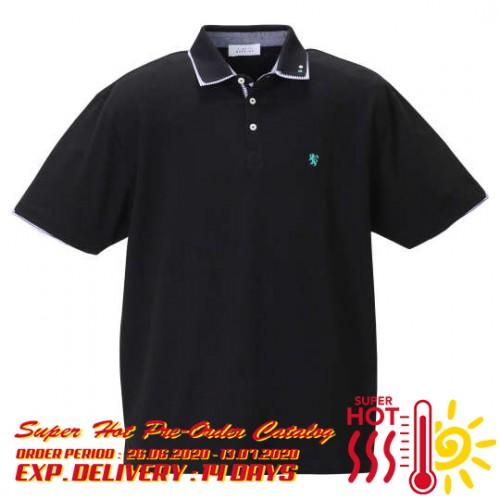 鹿の子 Stripe Collar Polo Shirt - Black