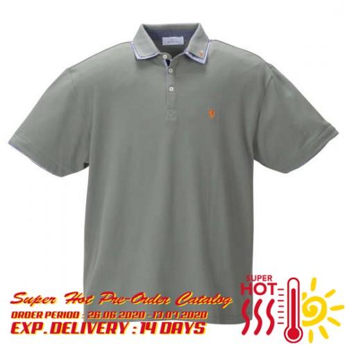 鹿の子 Stripe Collar Polo Shirt - Smoke Green