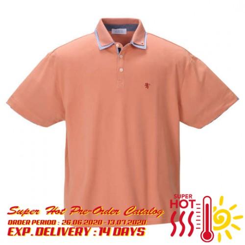 鹿の子 Stripe Collar Polo Shirt - Orange