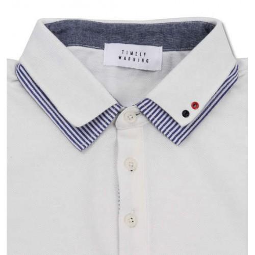 鹿の子 Stripe Collar Polo Shirt - White