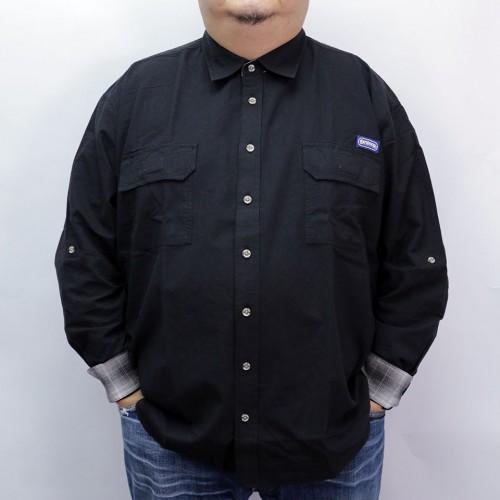 Cotton Linen Roll-up L/S Shirt - Black