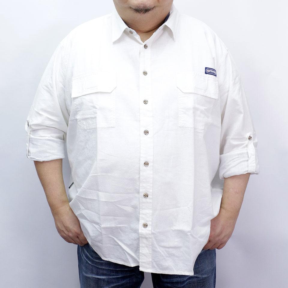 Cotton Linen Roll-up L/S Shirt - White