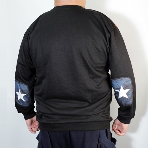 American Flag French Terry Crew Trainer - Black