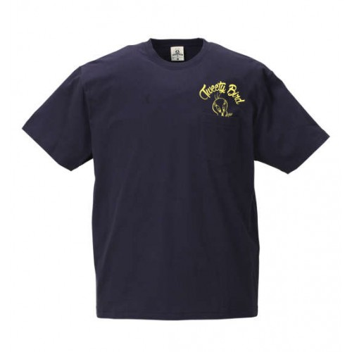 Chain Embroidery Short Sleeve Tee - Navy