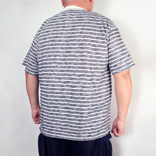 Slub Pocket Tee - Navy/White Stripe