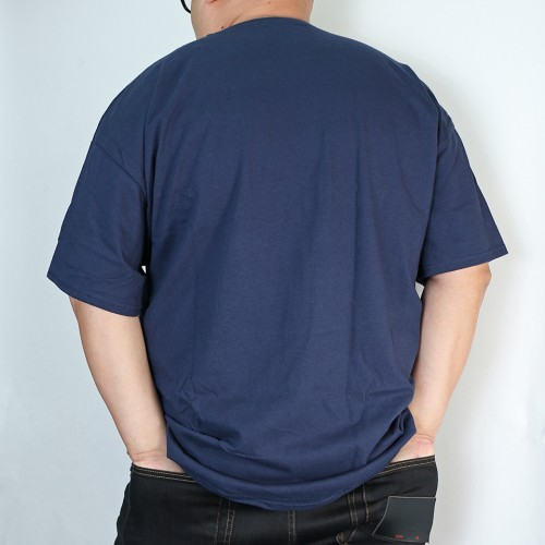 Simple Straight Print Logo Tee - Navy