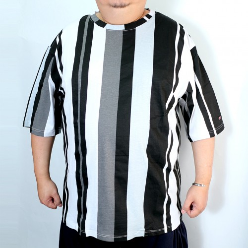 Color Block Stripe Tee - Black