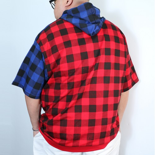 Pullover Patchwork Hoodie - Red/Blue