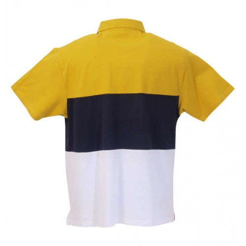 鹿の子 Switching Polo Shirt - Yellow