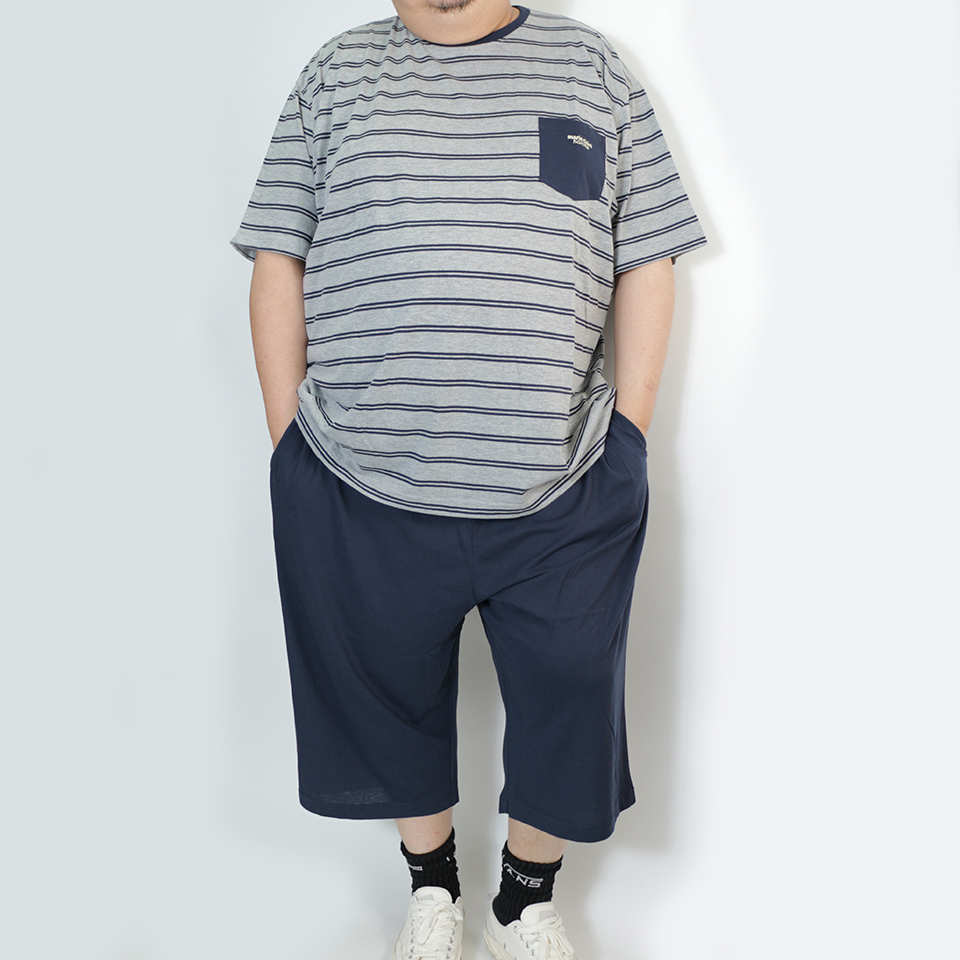 Stripe Pocket Tee Set - Grey/Navy