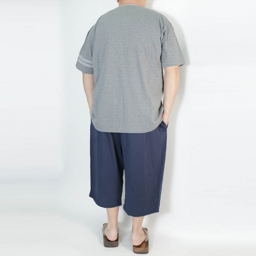Plain Design V-Neck Tee Set - Charcoal/Navy