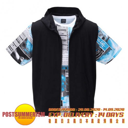 Patching Design Tee With Sleeveless Outer Set - Black/Blue