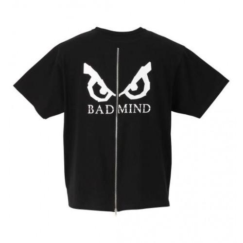 Back Zip Logo Print Tee - Black