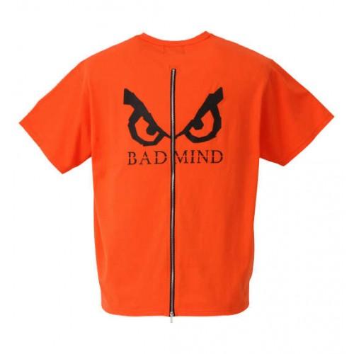 Back Zip Logo Print Tee - Orange