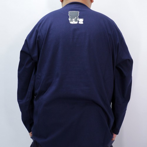 Black Shiba Japanese Style L/S Tee - Navy