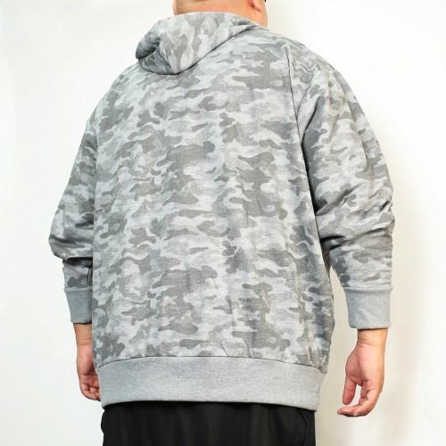 Camo Zip Hoodie - Grey